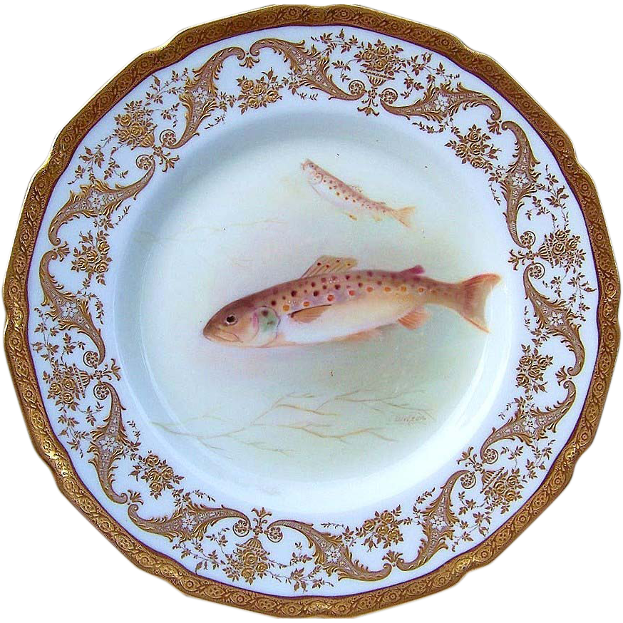 "Royal Doulton Early 1900's Hand Painted ""Trout"" 9"" Fish Plate by the Artist, ""T. Wilson"" Made Especially For Gilman Collamore & Co. NYC"