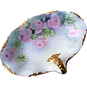 "J.P.L. France Limoges 1900's Hand Painted ""Soft Pink Roses"" 10-1/8"" Handle Tray"