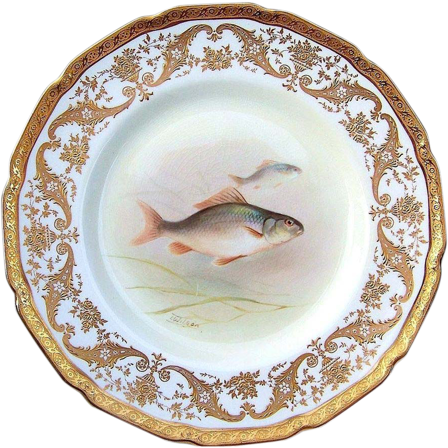 "Attractive Royal Doulton Early 1900's Hand Painted 9"" Fish Plate by the Artist, ""T. Wilson"" Made Especially For Gilman Collamore & Co. NYC"