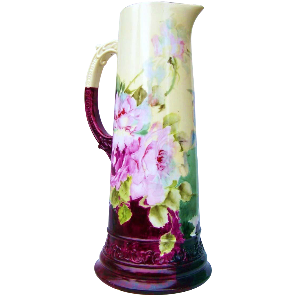 "Exceptional Belleek CAC Ceramic Arts Company 1900's Hand Painted Lifelike ""Deep Red & Pink Roses"" 14-3/4"" Tankard"