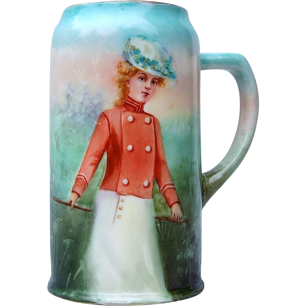 "Outstanding Belleek CAC Ceramic Arts Company 1900's ""Victorian Lady in Riding Attire"" 7-3/8"" Tankard Stein by Artist, ""Nili Troy"""