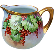 "Gorgeous RS Germany 1910 Hand Painted ""Red Currant"" Cider Pitcher"