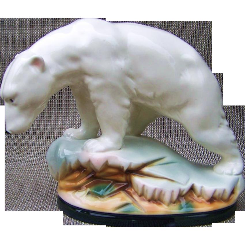 "Outstanding German Sitzendorf 1880-90's ""Polar Bear"" 10-1/2"" Figurine"