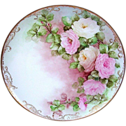 "Fabulous Vintage Hutchenreuther Selb Bavaria Germany 1900's Hand Painted ""Pink & White Roses"" 13-5/8"" Charger"
