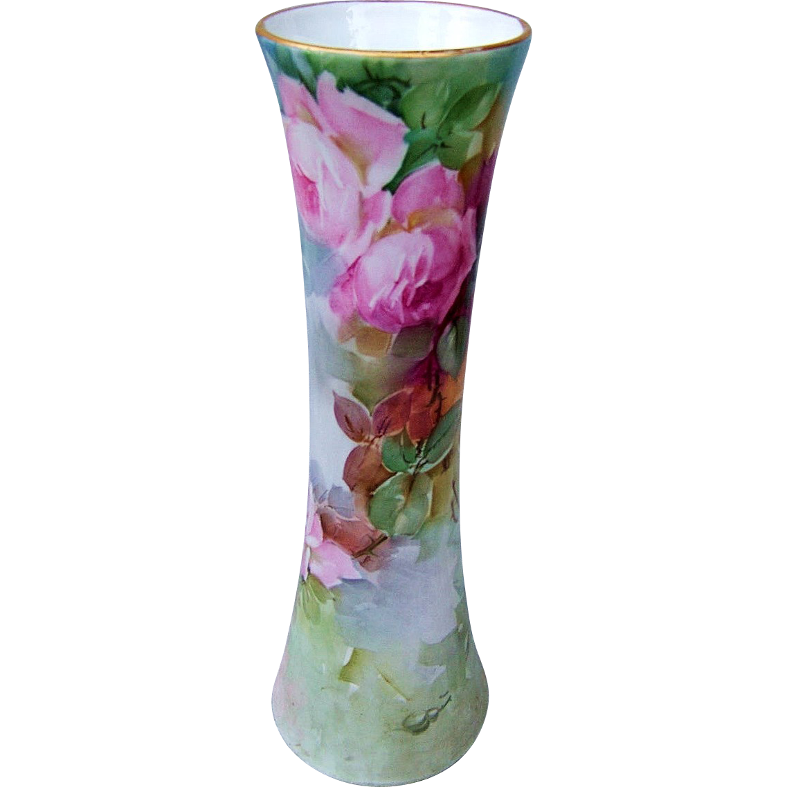"Large & Gorgeous Bavaria 1900's Hand Painted ""Red & Pink Roses"" 11-3/4"" Corset Vase"