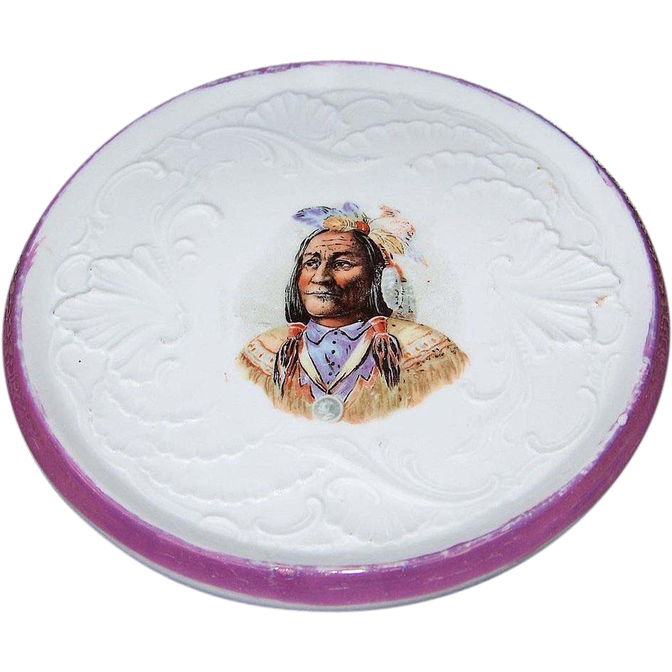 "Vintage Germany 1900's ""American Indian Chief"", Wearing the Presidential Medal of Peace, 6-1/2"" Trivet"