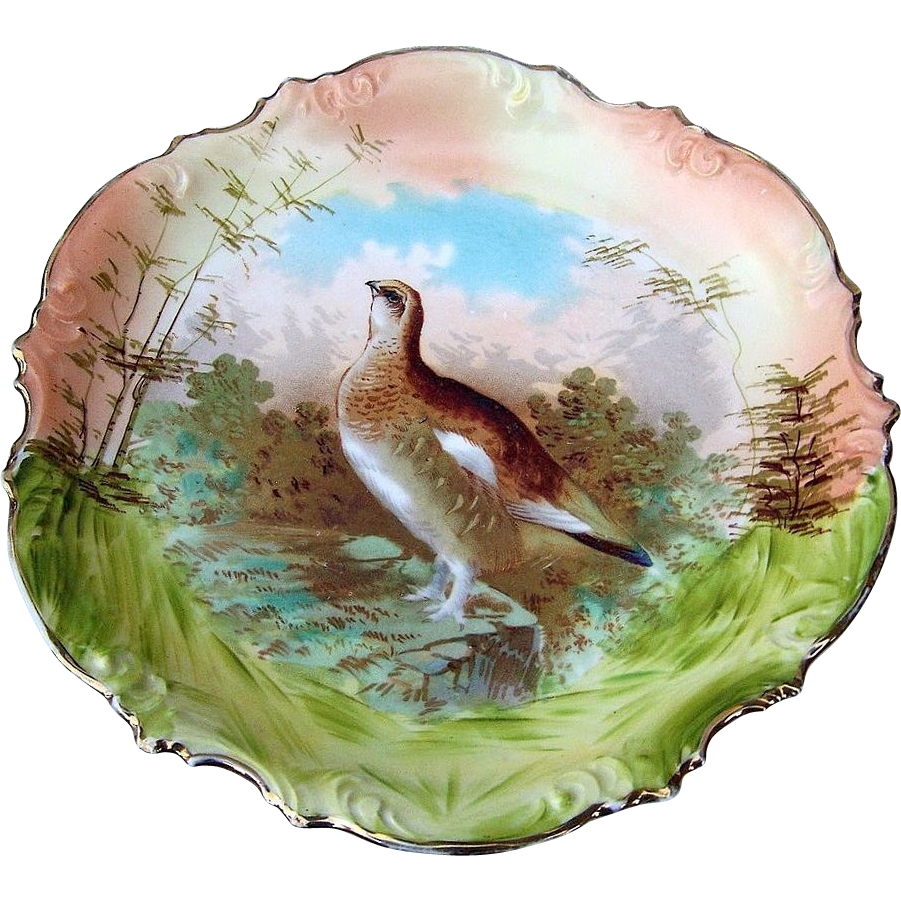 "Vintage ES Germany [RS Prussia] 1900's Hand Painted ""Grouse"" 11-1/2"" Scenic Game Charger"