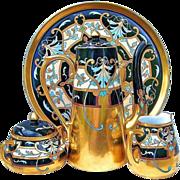 "Spectacular T & V Limoges & Pickard 1903 Hand Painted ""Modern Conventional"" 6 Pc. After Dinner Tea Set by the Artist, ""Robert Hessler"""