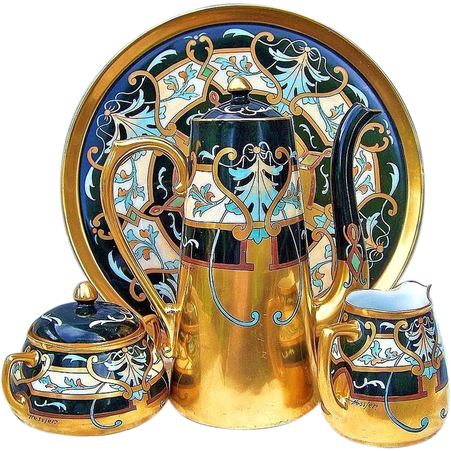 "Spectacular T & V Limoges & Pickard 1903 Hand Painted ""Modern Conventional"" 6 Pc. After Dinner Tea Set by the Artist, ""Robert Hessler"""