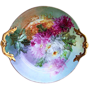 "Spectacular T & V Limoges 1908 Hand Painted ""Red, Pink, White, & Burnt Orange Mums"" 16-1/8"" Plate by the Listed Chicago Artist, ""Beatrice Carlsson"""