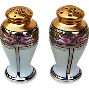 "Gorgeous Pickard Studio Hand Painted Enamel With Gold & Silver Overlay 3-1/2"" Salt & Pepper Shakers"