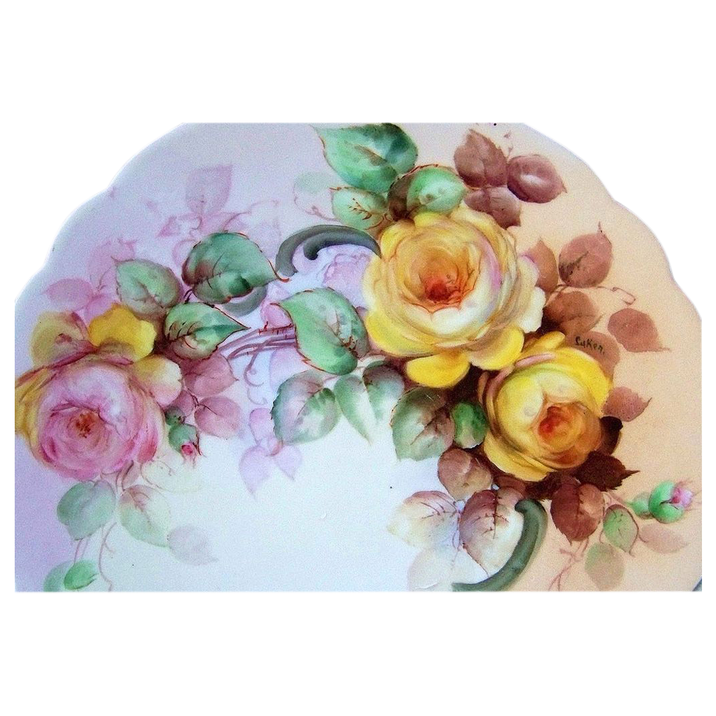 "Gorgeous Bavaria 1900's Hand Painted ""Pink & Yellow Roses"" 12-3/8"" Charger by the Pickard Artist, ""Minnie Luken"""