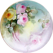 """Beautiful Limoges France 1900's Hand Painted """"Pink & Yellow Roses"""" 8-5/8"""" Plate"""