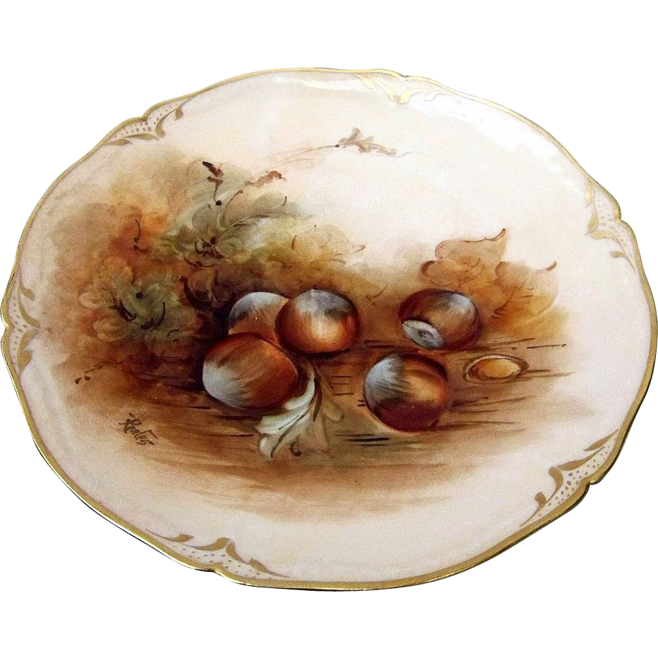 "Beautiful Pickard Studio of Chicago 1903 Hand Painted ""Fall Acorns"" 8-5/8"" Plate by the Artist, ""Alfred Keates"""
