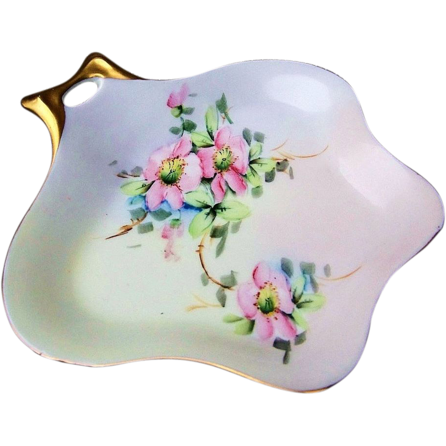 "Attractive JR Hutchenruether Selb Bavaria 1900's Hand Painted ""Apple Blossom"" 7-3/4"" Nappy by the  Kayser Decorating Studio"