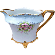"Beautiful RS Prussia 1900's Hand Painted ""Apple Blossoms"" 9-7/8"" Long Footed Cider Pitcher by the Artist, ""Ronir"""