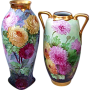 "Spectacular Austria & Chicago Decorating Studio 1900's Hand Painted Vibrant ""Red, Pink, & Yellow Mums"" 17-3/8"" Vase"