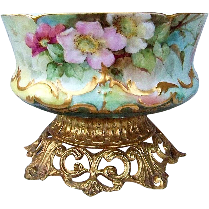 "Fabulous D & Co. France Limoges 1900's Lifelike Hand Painted ""Red, Pink, & White Pansy"" 9-1/8"" Planter Signed ""V""."