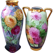 "Gorgeous Austria 1900's Hand Painted Vibrant ""Red, Pink, & Yellow Mums"" 15-3/4"" Vase by the Pickard Artist, ""Howard Reury"" - Red Tag Sale Item"