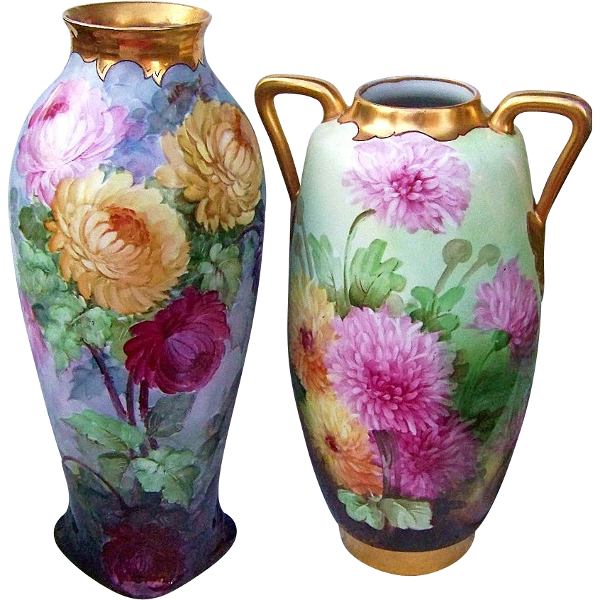 "Gorgeous Austria 1900's Hand Painted Vibrant ""Red, Pink, & Yellow Mums"" 15-3/4"" Vase by the Pickard Artist, ""Howard Reury"""