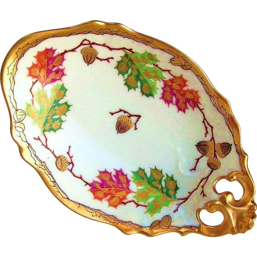 "Gorgeous D & Co. France & Pickard Studio of Chicago 1905 Hand Painted ""Acorns & Oak Leaves"" 8-3/8"" Heavily Gilded Gold Nappy by the Listed Artist, ""Emil Fischer"""