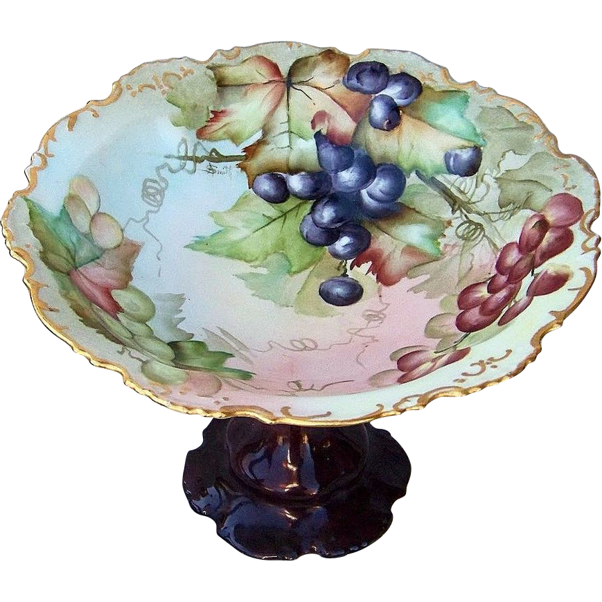 "Gorgeous Vintage Limoges France 1900's Hand Painted ""Purple, Red, & Green Grapes"" 9-1/4"" Compote by the Artist, ""A. Smith"""