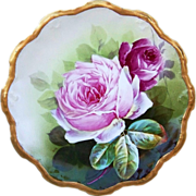 "Exquisite D'Artois Limoges France 1900's Hand Painted ""Red & Pink Roses"" 9-5/8"" Plate by the Artist, ""Laure"""