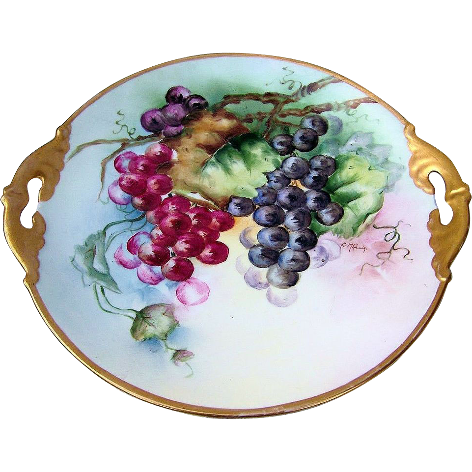 "Attractive MZ Austria 1900's Hand Painted ""Deep Purple, Purple, & Red Grapes"" 11"" Plate by the Artist, ""L.M. Craig"""