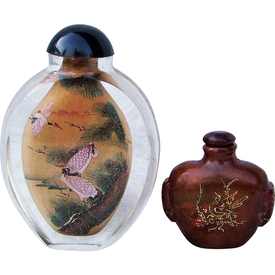 Vintage Chinese Red-Crown Cranes Hand Interior Reverse-Painted Natural Crystal Snuff Bottle