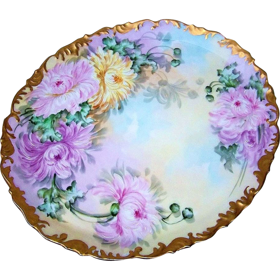 "Spectacular Museum Quality T & V Limoges France 1906 Hand Painted ""Deep Pink, Pink, & Yellow Mums"" 16-1/2"" Rococo Style Tray by the Artist, ""ELI"""