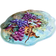 "Beautiful & Large J.P.L. Limoges France Early 1900's Hand Painted ""Purple, Red, & Green Grapes"" 16-1/4"" Tray"