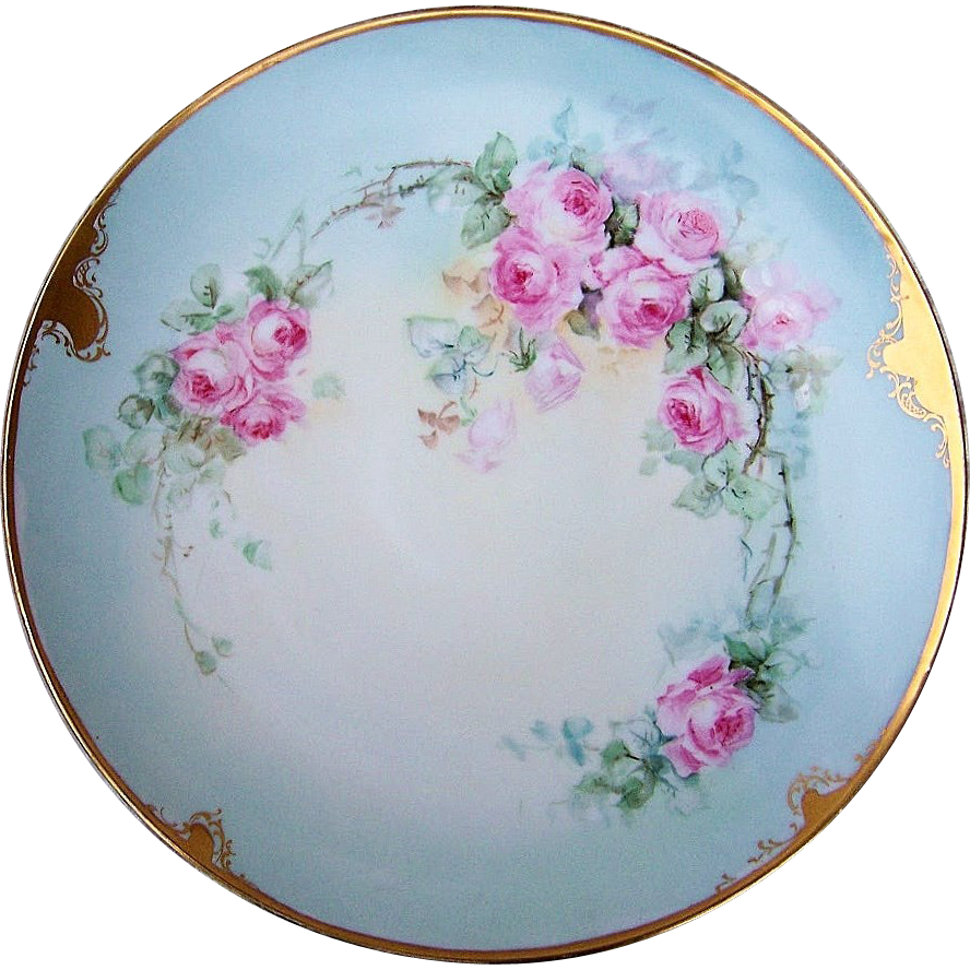 "Gorgeous T & V Limoges France 1900's Hand Painted ""Pink Roses"" 12-1/2"" Plate by the Early Chicago Artist, ""Kimmel"""