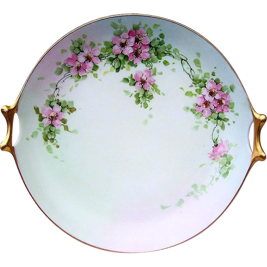 "Beautiful Bavaria 1900's Hand Painted ""Apple Blossom"" 12-1/4"" 2-Handle Plate"
