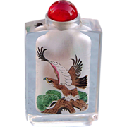 "Chinese ""Golden Hawk"" Hand Interior Reverse-Painted Natural Crystal 3-1/4"" Snuff Bottle"