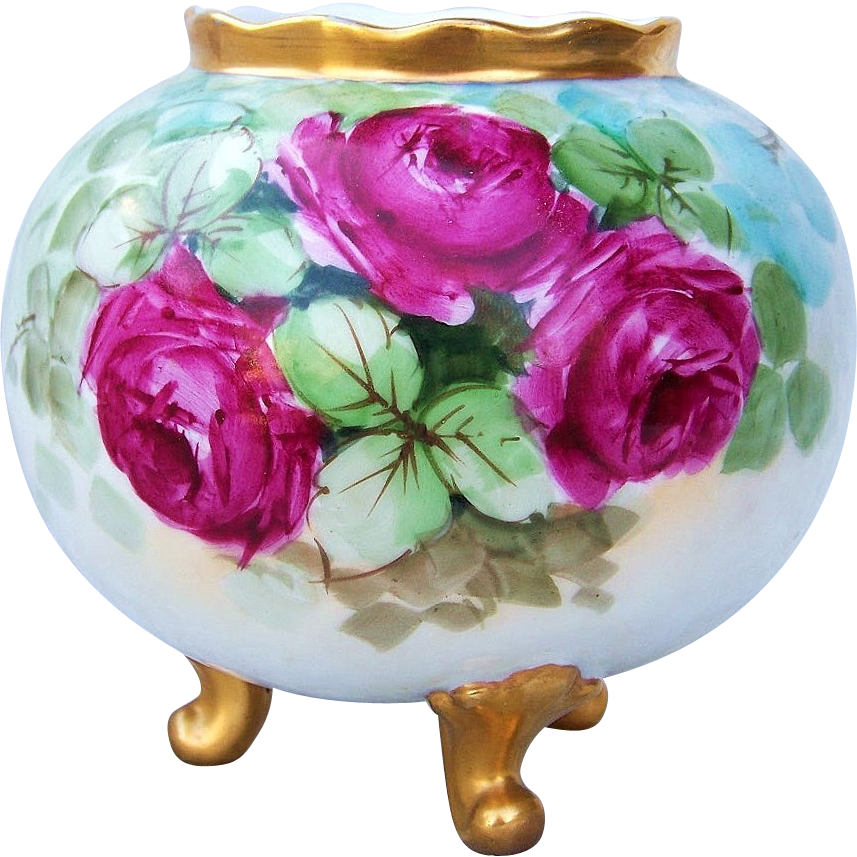 """Gorgeous Bavaria 1900's Hand Painted """"Deep Red Roses"""" 5-1/4"""" 3-Footed Bulbous Vase"""