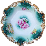 """Gorgeous RS Prussia 1900's Six Sided """"Pink & Yellow Roses"""" 11"""" Bowl"""