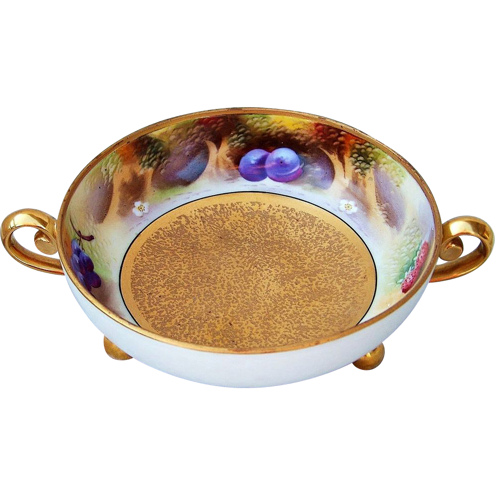 """Attractive Pickard Studio of Chicago 1912 Hand Painted """"Deserted Garden"""" 7-3/8"""" Handle & Footed Bowl by the Listed Artist, """"Curtis Marker"""""""