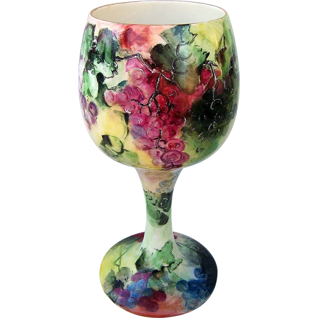 "Exquisite Belleek 1898 Hand Painted ""Purple, Red, & Green"" Toasting 11-1/2"" Goblet by the Artist, ""Jane Margaret Beeson"""