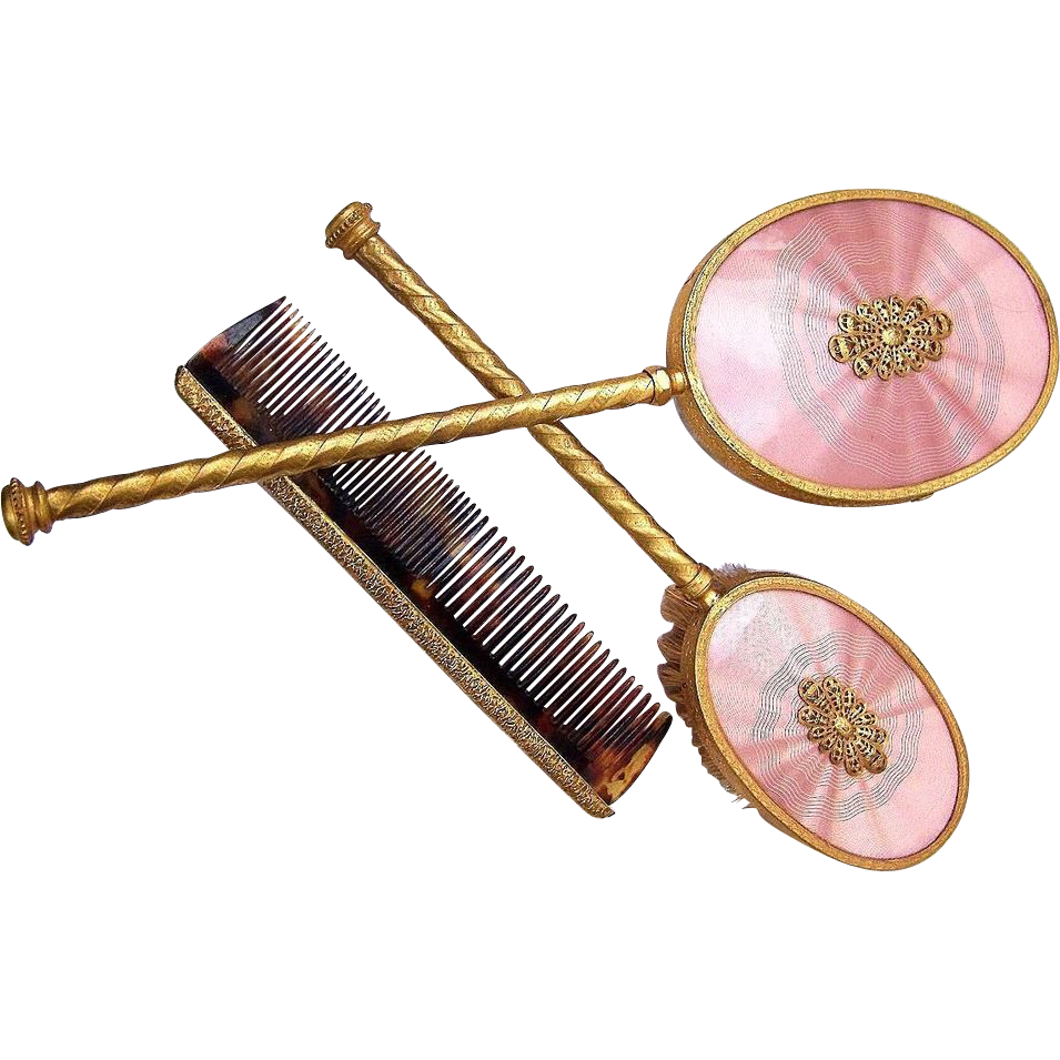 Beautiful 1920-30's Faux Guilloche Enamel Salmon Colored 3-Pc Hand Mirror & Brush Set