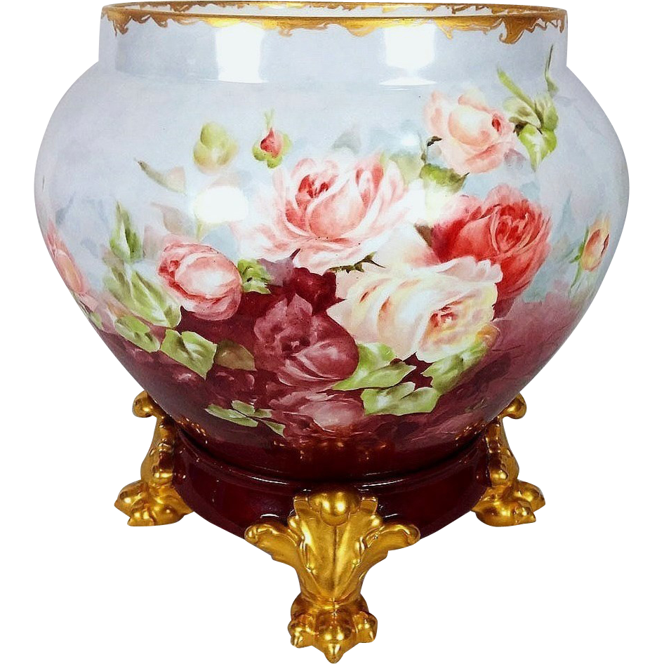 """Fabulous D & Co. France Limoges 1900 Hand Painted """"Red, Peach, & White Roses"""" 11-1/4"""" Jardiniere with Gold Lion Paw Plinth"""