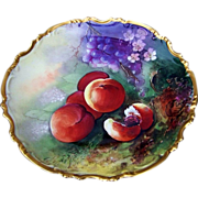 "Beautiful BRP Limoges France 1900's Hand Painted ""Peaches & Grapes"" 12"" Rococo Charger by the French Artist, ""Leroux"