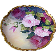"Magnificent LDBC Limoges France 1900's Hand Painted ""Red & Pink Roses"" 11-3/8"" Rococo Charger"