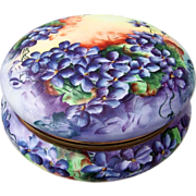 "Large & Exquisite AK France Limoges 8"" Vintage Hand Painted Vibrant ""Deep Purple Violets"" Dresser Box Casket"