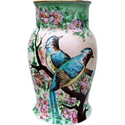 """Bavaria Vintage 1900's Hand Painted """"Bluebirds in Apple Blossoms"""" 7-1/2"""" Vase"""