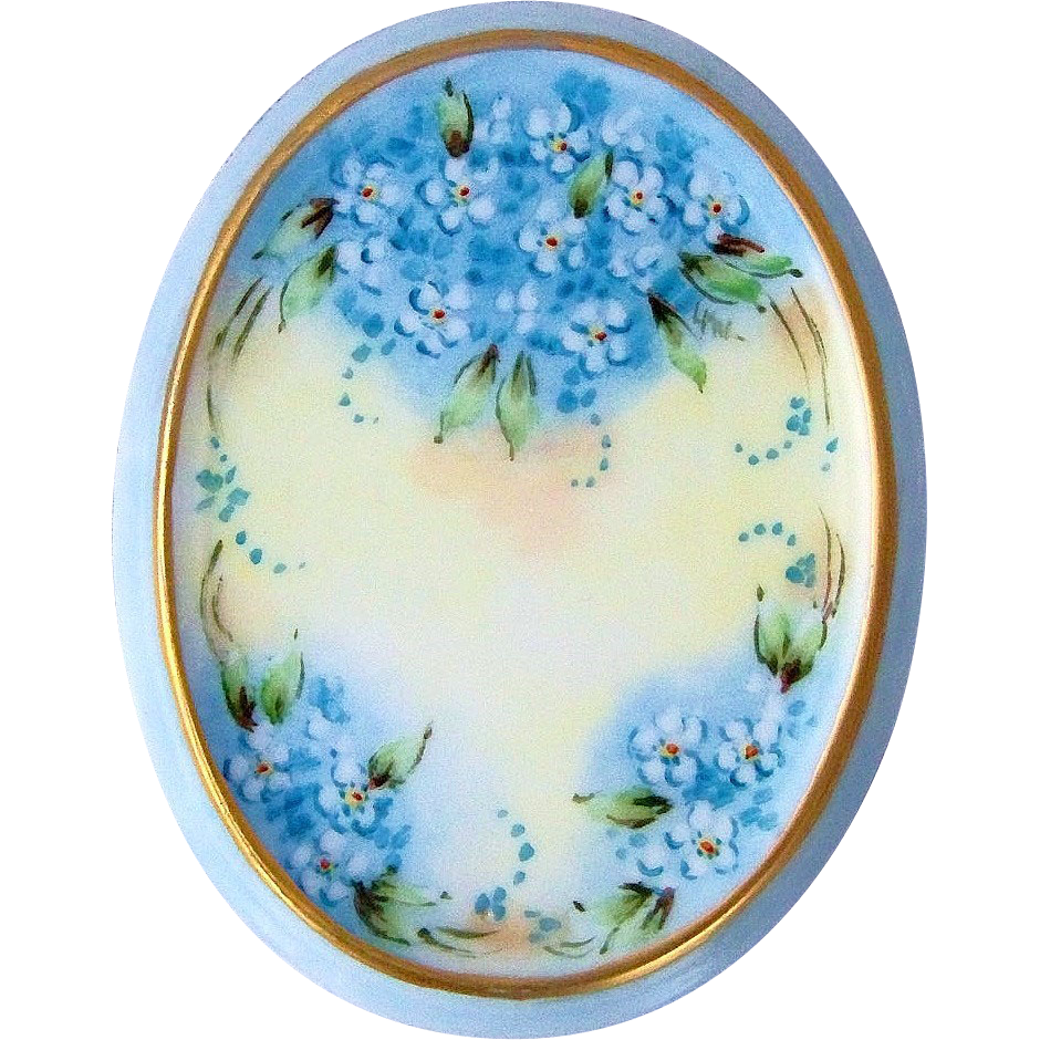 "Beautiful Bavaria Hand Painted ""Forget Me Not"" 4-7/8"" x 3-3/4"" Floral Plaque"