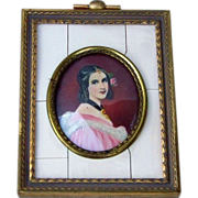"Attractive Vintage 1900's France Hand Painted ""Portrait of A Mademoiselle"" 3-1/2"" x 2-3/4"" Framed Plaque Artist Signed ""N. Hvleo"" in Brass Frame"