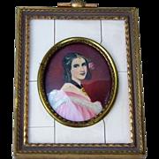 "Attractive Vintage 1900's France Hand Painted ""Portrait of A Mademoiselle"" 3-1/2"" x 2-3/4"" Framed Plaque Artist Signed ""N. Hvleo"" in Brass Frame"