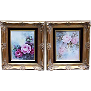 "Gorgeous Jean Pouyat Limoges France 1900's Hand Painted ""Red & Pink Roses"" 16-1/4"" x 14-1/4"" Floral Plaque in Rococo Frame - Red Tag Sale Item"