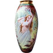 "Spectacular & Scarce D & Co. France Limoges 1900's Hand Painted ""Portrait of A Nude"" 15"" Vase by the Listed Pickard Artist, ""Adolph Heidrich"""
