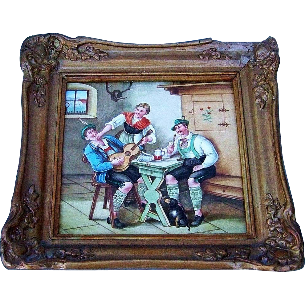 "Outstanding German Bavaria 1900's Hand Painted ""Two Men & A Bar Maid in A Rathskeller"" 8-1/2"" x 8-1/2"" Framed Plaque"